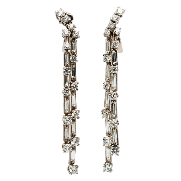 Art Deco double line long dangly diamond earrings - image 1