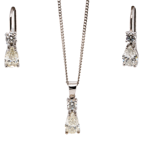 Art Deco Diamond earrings and pendant set with chain - image 1