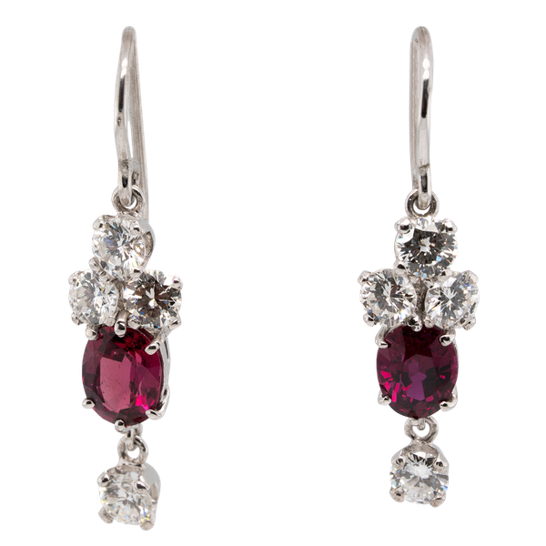 Ruby and diamond dangling earrings - image 1