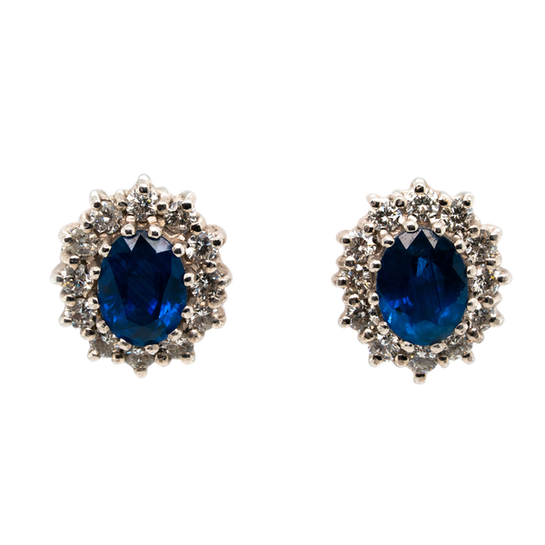 Diamond and sapphire cluster earrings - image 1