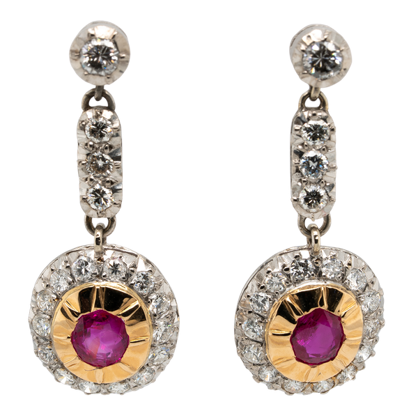 Ruby and diamond dangly cluster earrings - image 1