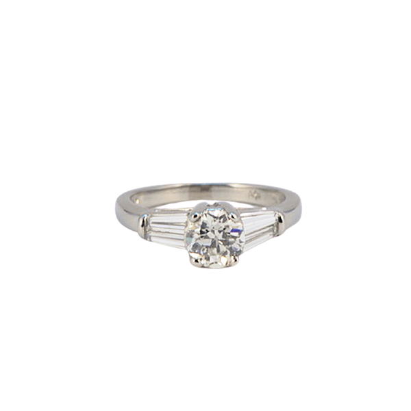 1960's, Platinum, Old Cut Diamond and Tapered Baguette Cut Diamond stone set Ring. SHAPIRO & Co since1979 - image 6