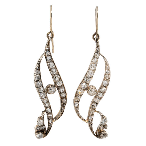 Victorian dangly diamond earrings.Diamonds total 4 ct est. - image 1