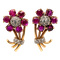 Ruby and diamond flower cluster antique earrings - image 1