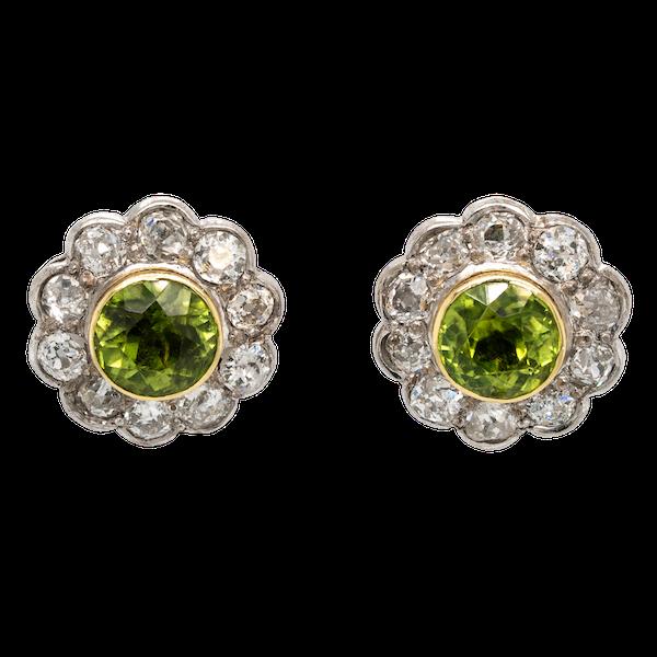 Diamond and peridot cluster earrings - image 1