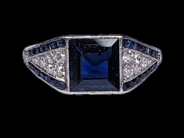 Art Deco Sapphire and Diamond Ring  DBGEMS - image 1