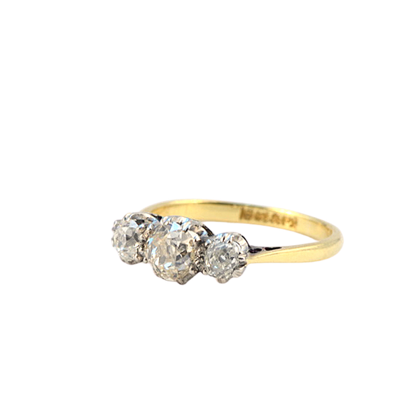 1950's, 18ct Yellow Gold & Platinum, 3 stone Old Mine Cut Diamond stone set Ring, SHAPIRO & Co - image 5