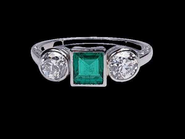 Columbian emerald and diamond engagement ring  DBGEMS - image 1