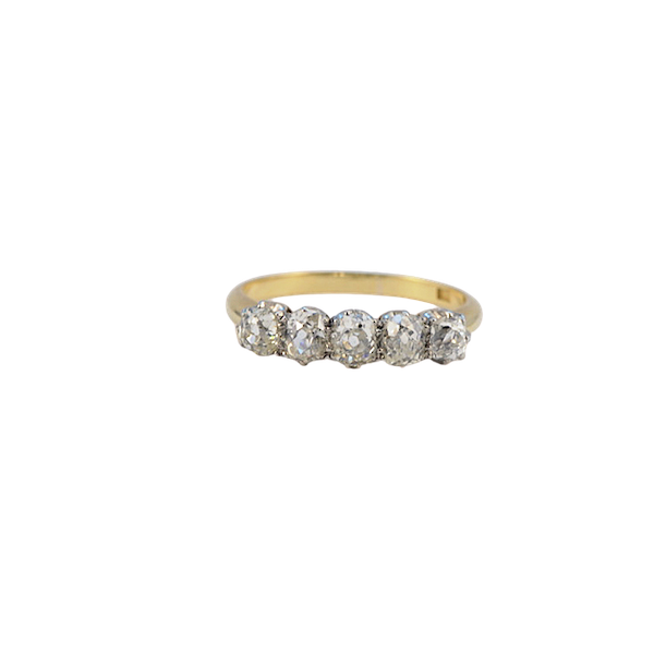 1950's, 18ct Yellow Gold & Platinum, 5 stone Old Mine Cut Diamond stone set Ring, SHAPIRO & Co - image 5