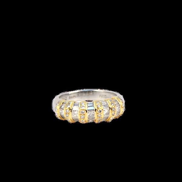 1970's, 18ct White & Yellow Gold Diamond stone set Ring, SHAPIRO & Co since1979 - image 1