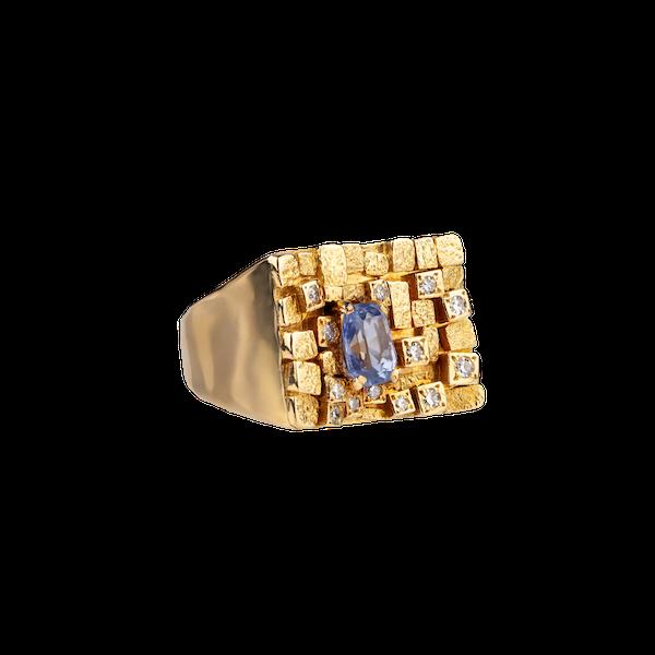 1970s sapphire and diamond ring - image 1