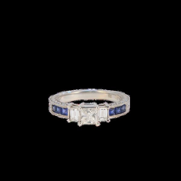 1970's, 18ct White Gold Diamond and Sapphire stone set Ring, SHAPIRO & Co since1979 - image 1