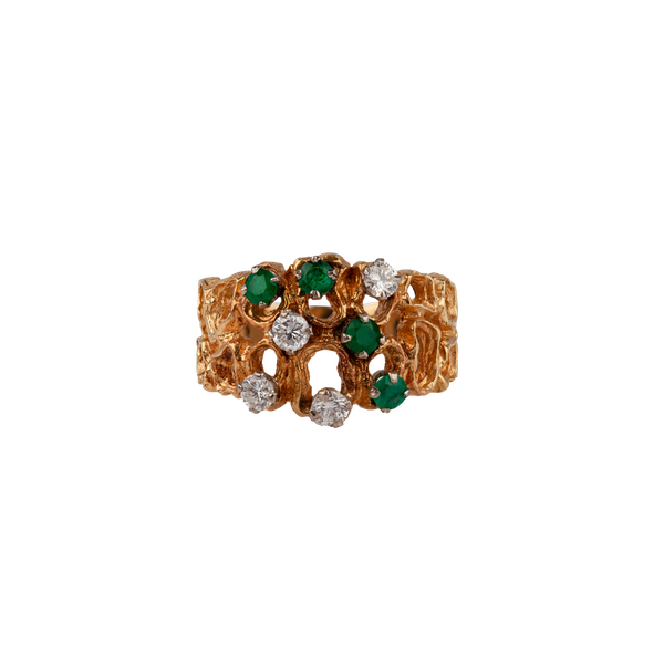 1970s emerald and diamond ring - image 1