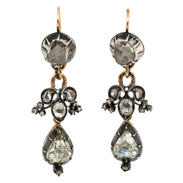 Georgian rose cut diamond drop earrings - image 1