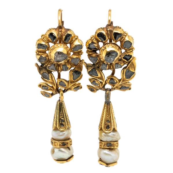 17th century diamond and natural pearl earrings - image 1