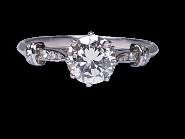 1.10ct art deco diamond engagement ring  DBGEMS - image 1