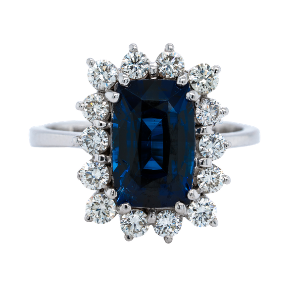 18K white gold 4.08ct Natural Blue Sapphire and 1.00ct Diamond Ring - image 1