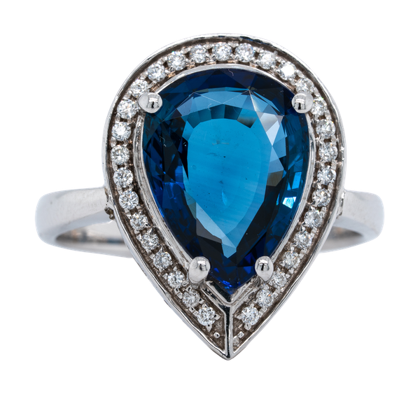 18K white gold 5.05ct Natural Blue Sapphire and 0.75ct Diamond Ring - image 1