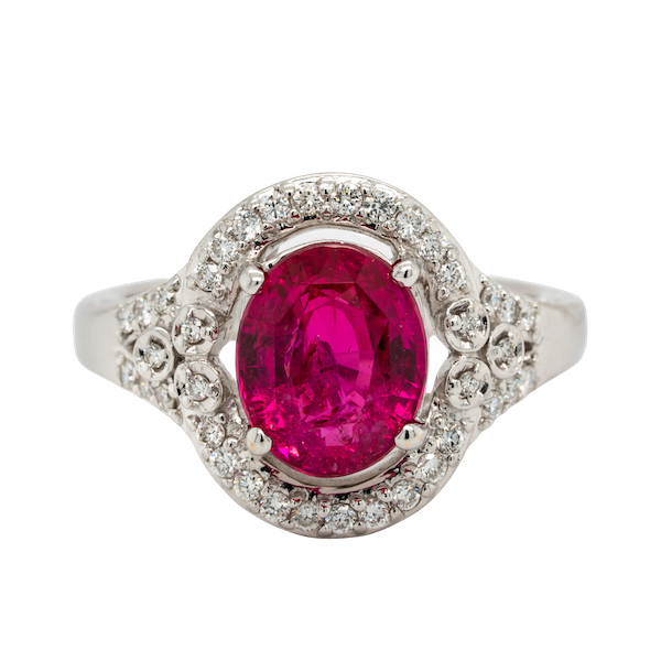 18K white gold 3.54ct Natural Ruby and 0.32ct Diamond Ring - image 1