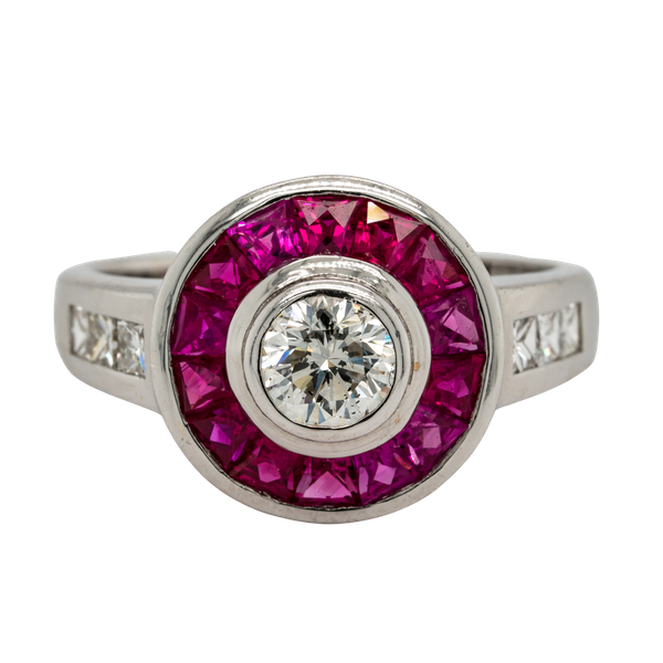 18K white gold 1.25ct Natural Ruby and 0.52ct Diamond Ring - image 1