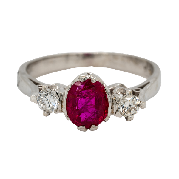 18K white gold 1.20ct Natural Ruby and 0.18ct Diamond Ring - image 1
