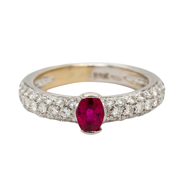 18K white gold 0.50ct Natural Ruby and 0.75ct Diamond Ring. - image 1