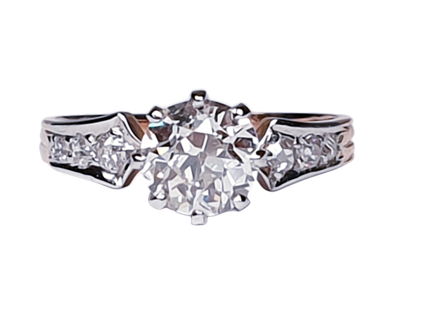 1.37ct cushion cut diamond French engagement ring  DBGEMS - image 1