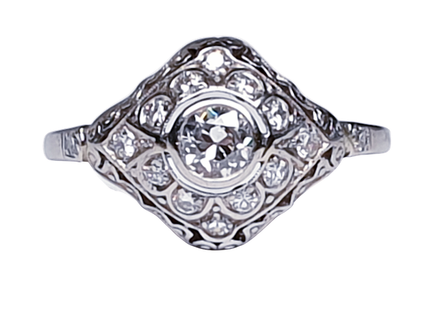 Art Deco Diamond Engagement Ring  DBGEMS - image 1