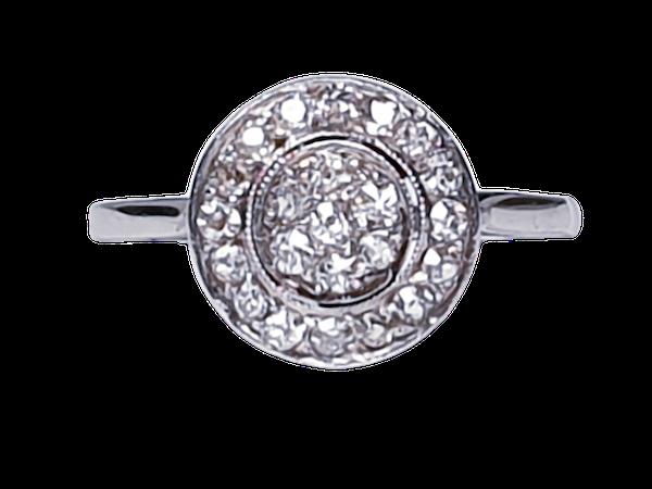 Art Deco Diamond Target Engagement Ring  DBGEMS - image 1