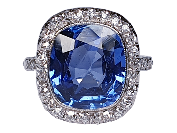 5ct natural Ceylon sapphire and diamond art deco ring  DBGEMS - image 1