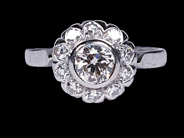 Art Deco Diamond Cluster Engagement Ring  DBGEMS - image 1