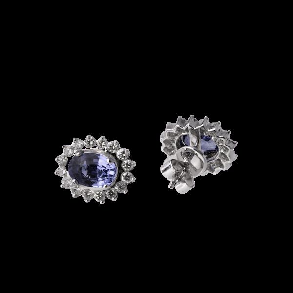 Cornflower Blue vibrant Sapphire and Diamond Earrings. - image 1