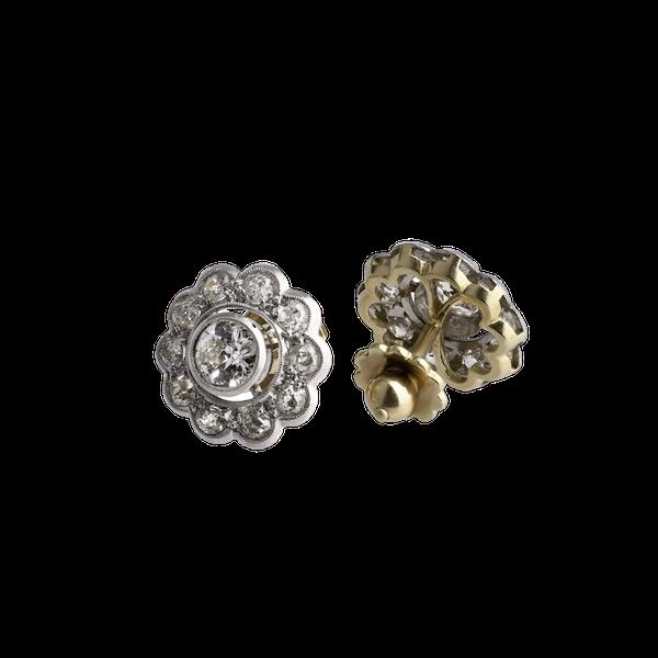 Deco Diamond Flower Cluster Earrings - image 1
