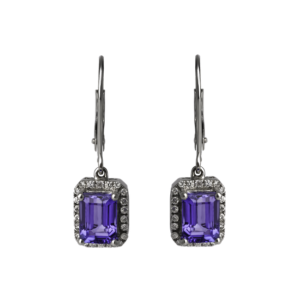 Tanzanite and Diamond Drop Earrings - image 1
