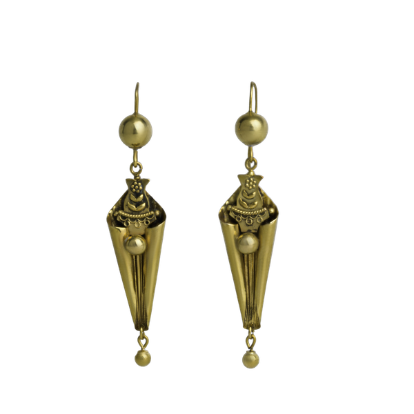 Etruscan style Gold drop Deco Earrings - image 1