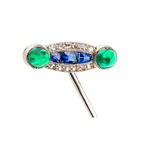 Antique Tie Pin in Platinum with Emeralds, Sapphires and Diamonds, French circa 1900. - image 1