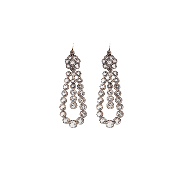 Victorian paste and silver drop earrings - image 1