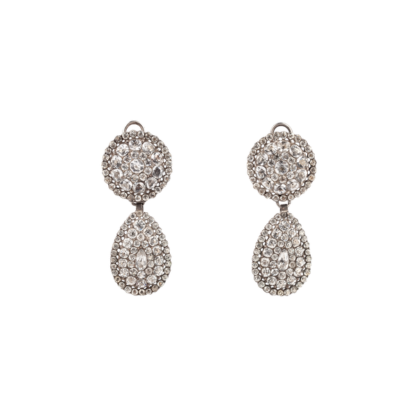 18th century paste and silver drop earrings - image 1