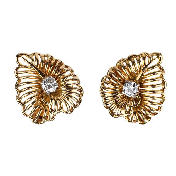Vintage Cartier Earrings of Leaf Design in 18 Karat Gold and Diamonds, French circa 1950. - image 1