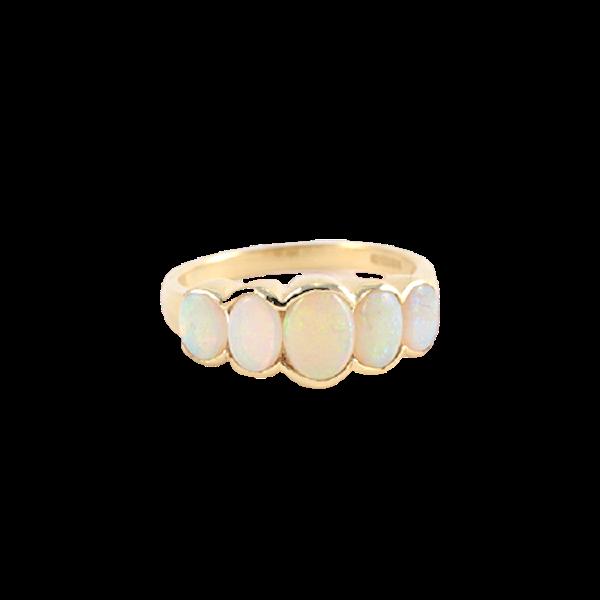 Date: London 1938, 9ct Yellow Gold, Opal stone set Ring, SHAPIRO & Co since1979 - image 1