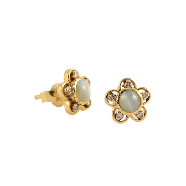 1950's, 18ct Yellow Gold Chrysoberyl Cat's Eye and Diamond stone set Earrings, SHAPIRO & Co since1979 - image 5