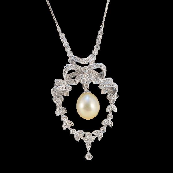 1970's, 18k White Gold, Brilliant Cut Diamond and South Sea Pearl stone set Pendant, SHAPIRO & Co since1979 - image 6
