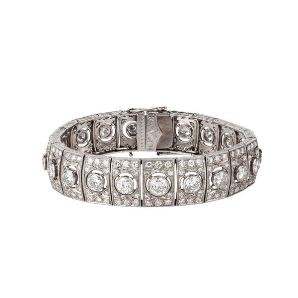 1920s platinum diamond bracelet - image 1