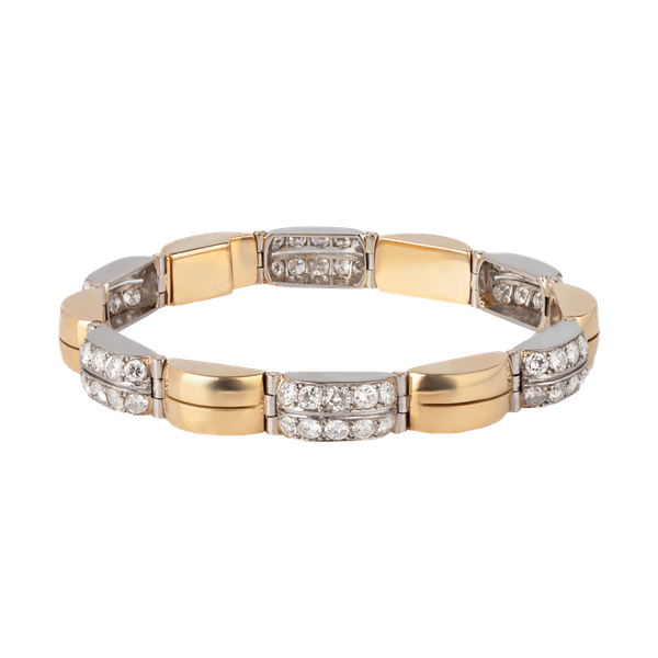 French gold, platinum diamond bracelet - image 1