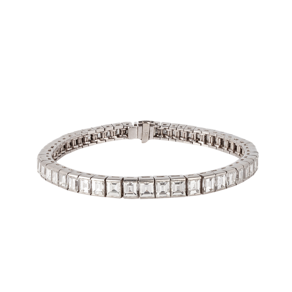 Platinum diamond baguette cut line bracelet - image 1