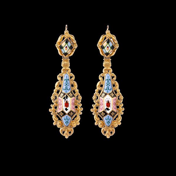 Enamel Victorian drop earrings - image 1