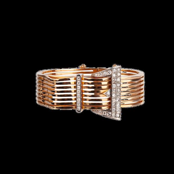 Diamond gold buckle bangle - image 1