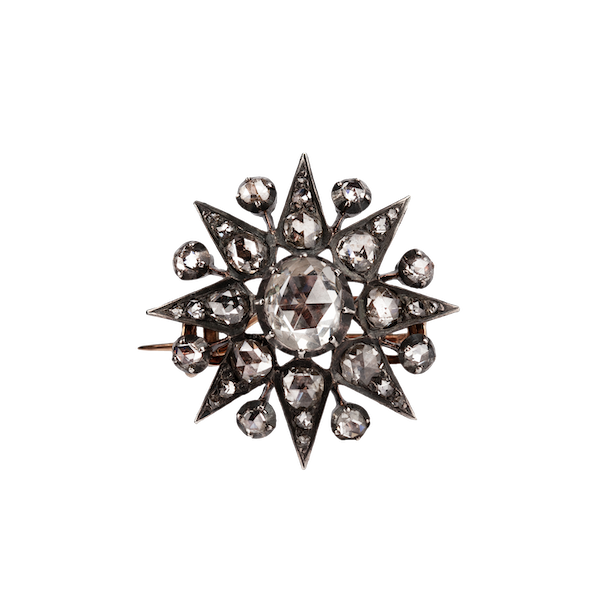 Rose cut diamond star brooch - image 1