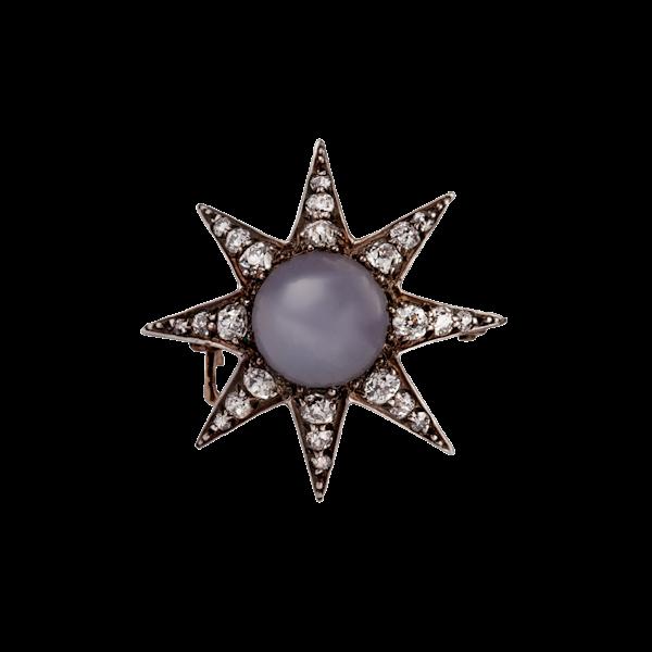 Victorian star sapphire diamond brooch - image 1