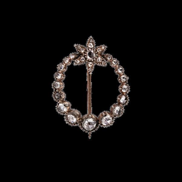 Georgian rose cut diamond crescent and star brooch - image 1